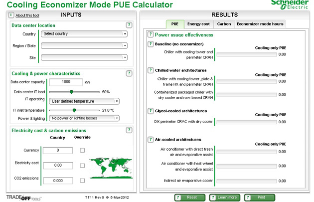 Schneider Electric Cooling Economizer Mode PUE Calculator is a free online tool