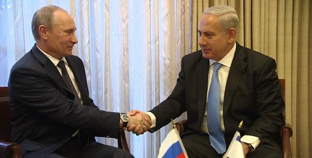 """ראש הממשלה בנימין נתניהו ונשיא רוסיה ולדימין פוטין בפגישתם בבית ראש הממשלה - צילום: באדיבות לע""""מ"""