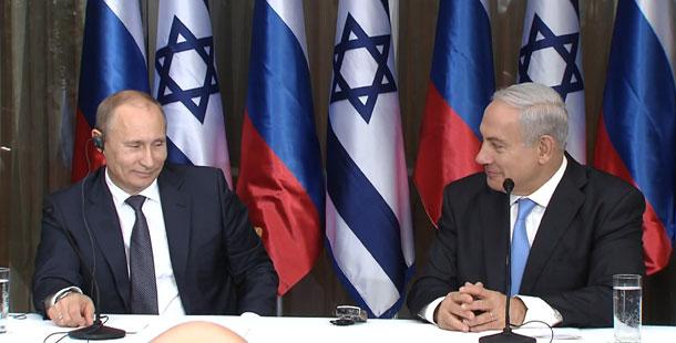 """ראש הממשלה בנימין נתניהו ונשיא רוסיה ולדימין פוטין במסיבת העיתונאים - צילום: באדיבות לע""""מ"""