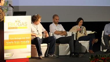 מימין לשמאל: עידית בן בסט, חוני קבלו, יוחמנן בורשטיין ואיתן פרנס. כנס ביוגז 2014. צילום: תומר קזיניץ