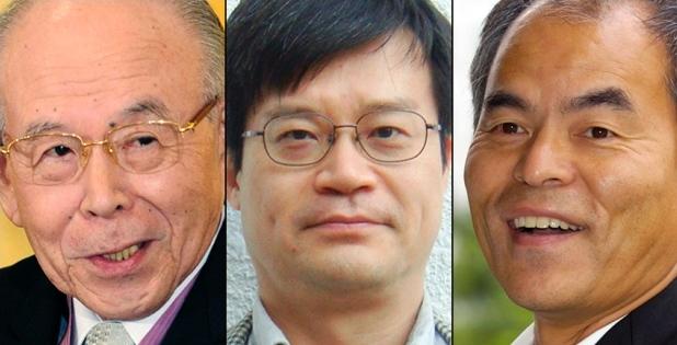 מימין: שוג'י נקאמורה, הירושי אמאנו ואיסמו אקסאקי, זוכי פרס נובל לפיזיקה 2014 על ההמצאה של נורת הלד הכחולה