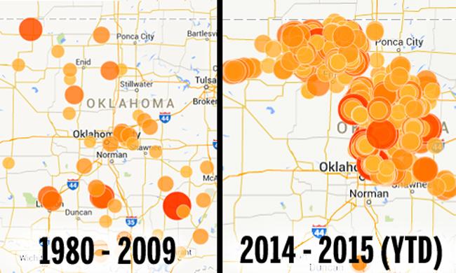 רעידות האדמה באוקלהומה בעוצמת 3+ בסולם ריכטר, מצבור הרעידות הגדול בשנה וחצי האחרונות נמצא באיזור של קידוחי הפראקינג. מקור: Oklahoma Office Of The Secretary Of Energy & Environment