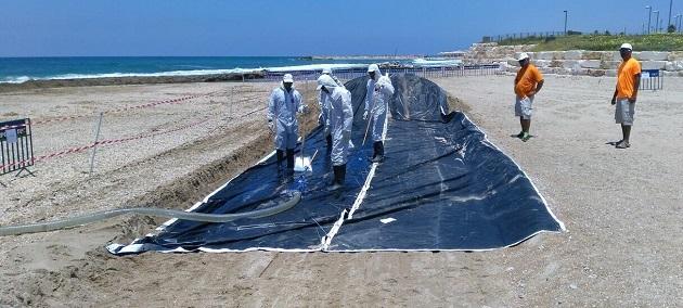 תרגיל לדליפת נפט בים התיכון. צילום: עמותת צלול