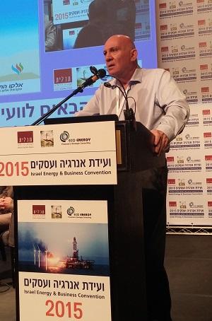 """משה שפיצר, מנכ""""ל נגב גז טבעי, בוועידת אנרגיה ועסקים 2015. צילום: אדיר פטל, תשתיות"""