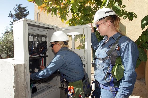 דריה נובוסיולוב ונועה לביא בעבודה לחיבור חשמל לבית בשפרעם. צילום: יוסי וייס
