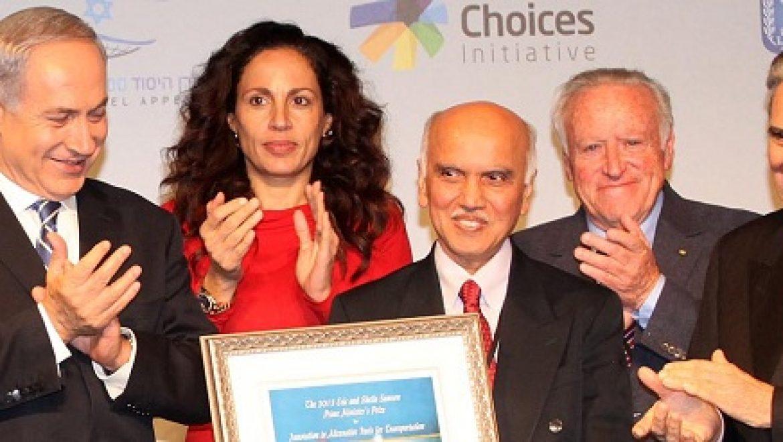 """נתניהו העניק את פרס רה""""מ לחדשנות עולמית בתחום תחליפי הנפט בסך מיליון דולר"""