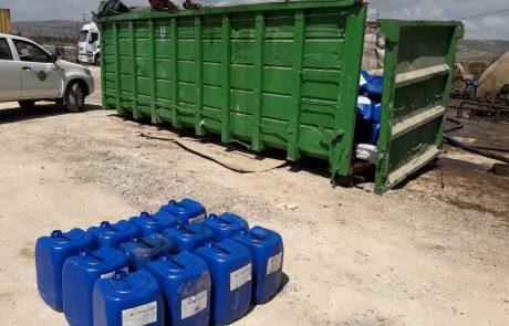 המשרד להגנת הסביבה תפס חומרים מסוכנים בעסק פיראטי בסמוך לעתלית