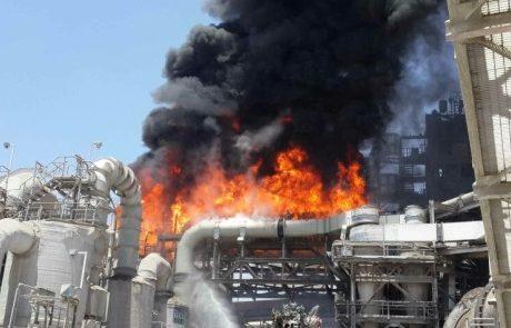 שריפה במפעל הכימי רותם אמפרט של קבוצת כיל