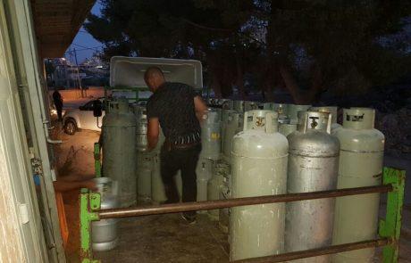מאות בלוני גז פיראטיים נתפסו בירושלים