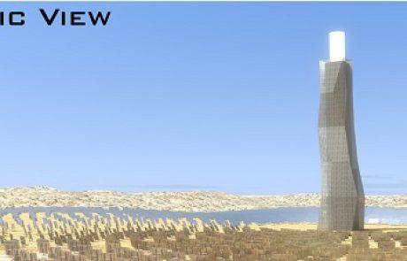 כך ייראה מגדל השמש בתחנת הכוח  התרמו סולארית ב'אשלים'