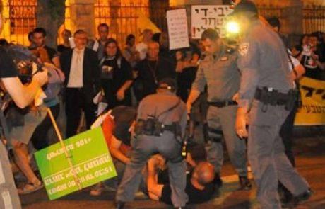 """אמש בירושלים: אלימות משטרתית נגד מפגיני הגז ליד בית רוה""""מ"""