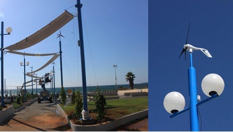 אינטרדן הקימה מערכת משולבת לניצול אנרגיית השמש ורוח בטיילת בת ים
