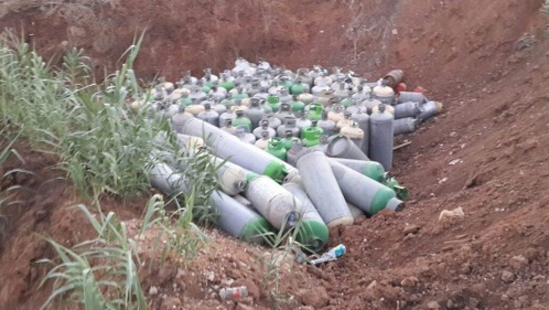 """עשרות מכלי גפ""""מ גנובים התגלו באזור יבנה"""