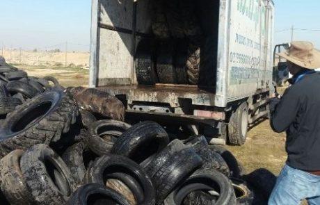 פתיחת חקירה נגד נהגי משאיות שהשליכו צמיגים משומשים בניגוד לחוק